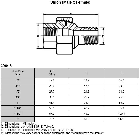 Asme b bs threaded union male female