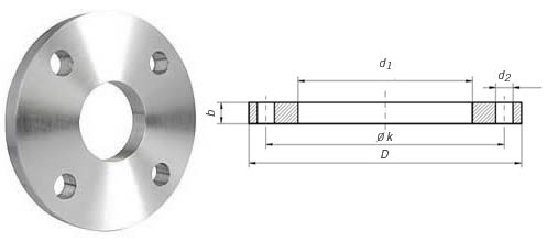 Dimensions & Approximate Masses of DIN 2573 PN6 Flange
